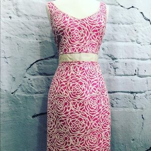 Maggy London Pink Beige Floral Sheath Dress